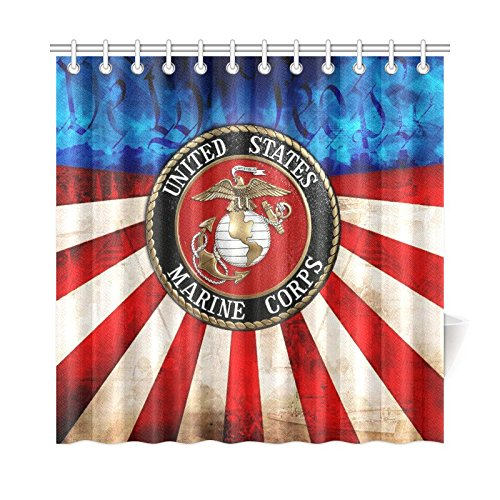 New Year Gifts/Thanksgiving Day USMC United States Marine Corps Waterproof Bathroom decor Fabric Shower Curtain Polyester 72 x 72 inches