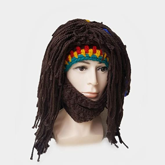 Hilai Creativa barba sombrero bárbaro punto barba sombrero peluca gorro sombrero divertido sombrero de punto de la barba máscara para hombre (multicolor): ...