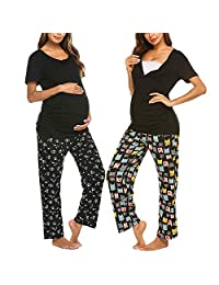 Maternity Pajamas Women's Spring and Summer Round Neck Buckle Buttoned Maternity Postpartum Pregnancy Breastfeeding Nursing Pajamas Short Sleeves + Trousers Suit,Flowers,XL