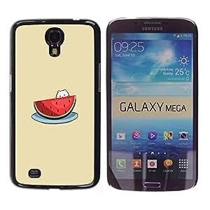 TopCaseStore / la caja del caucho duro de la cubierta de protección de la piel - Cute Cat Beige Fruit - Samsung Galaxy Mega 6.3 I9200 SGH-i527
