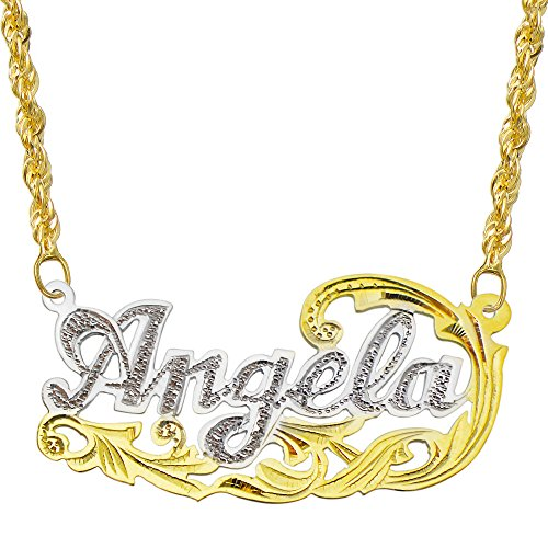 Pyramid Jewelry 14K Two Tone Gold Personalized Name Plate Necklace - Style 8 (20 Inches, Hollow Rope Chain)