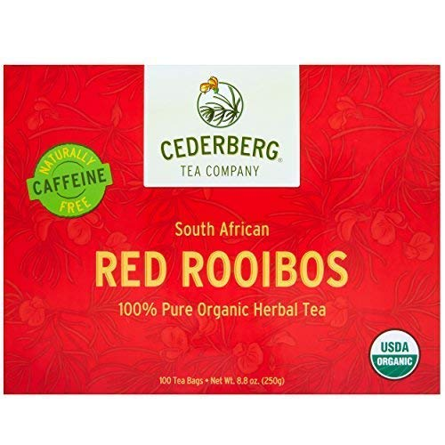Red Rooibos Tea 100 Teabags USDA Organic - Naturally Caffeine Free - Cederberg Tea - Bush African Red