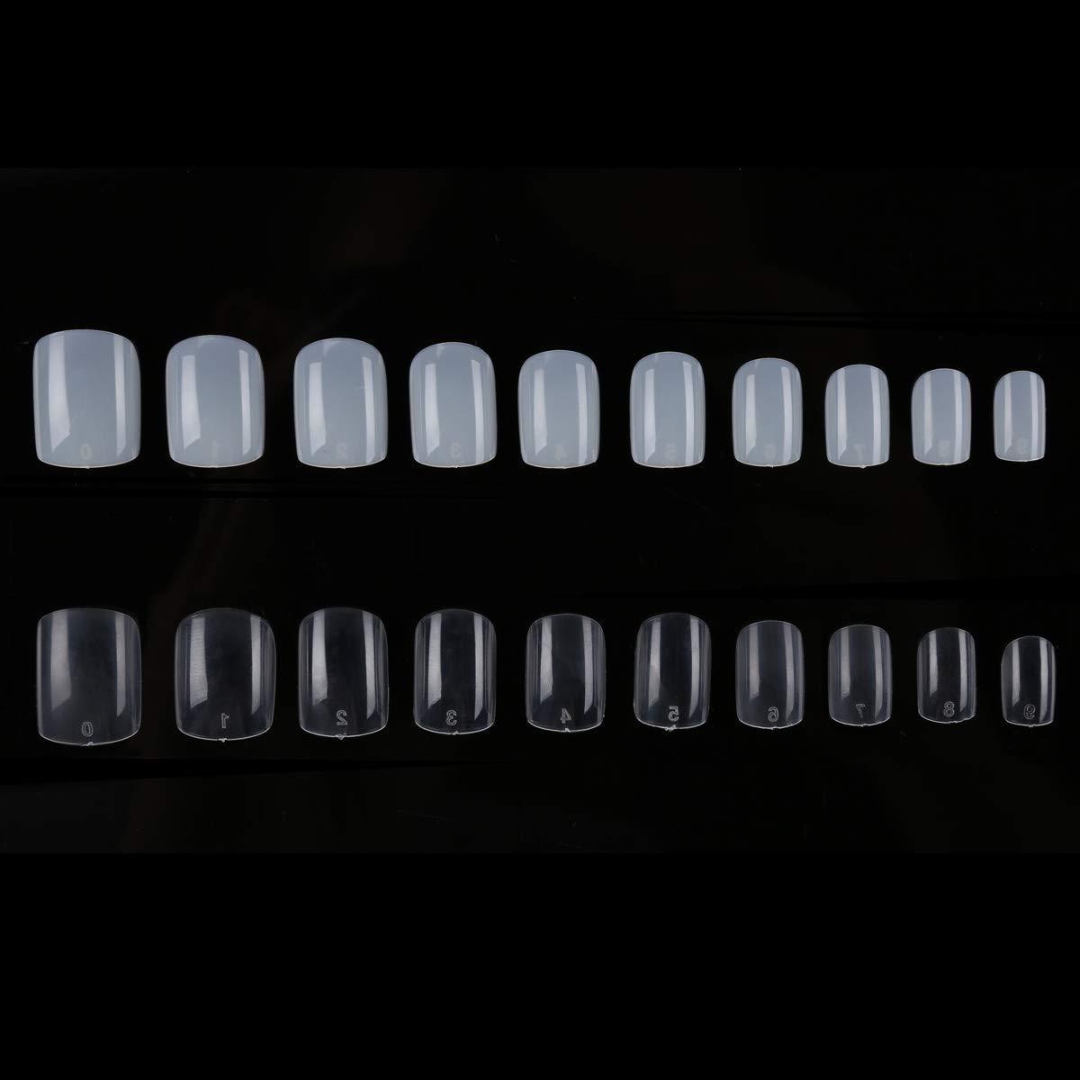 1200 uñas postizas de forma cuadrada corta, transparentes, de 10 tamaños, para cubrir uñas postizas, para salones de uñas y bricolaje, 600 unidades de color ...