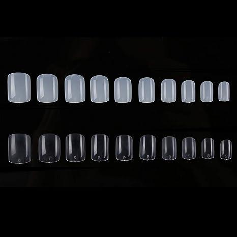 1200 uñas postizas de forma cuadrada corta, transparentes, de 10 tamaños, para cubrir