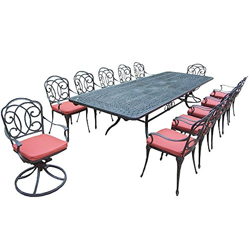 Oakland Living Corporation Verona Cushioned Aluminum 13-piece Dining Set, with Extendable Table, 2 Swivel Rockers, and 10 Chairs (Verona Patio Furniture)