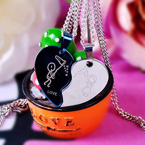 Two Color His Hers Heart-Shaped Love You Couple Pendant Necklace Stainless Steel