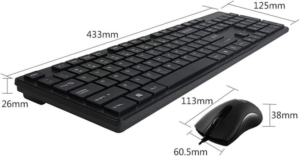 Color : Black Mouse and Keyboard Set Cable Office Home Laptop Mouse Button Set