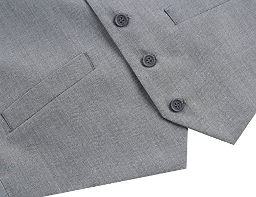 Chama Men's Formal Classic Fit Business Dress Suit Button Down Vest Waistcoat(60 Regular, Light Grey) by Chama (Image #4)