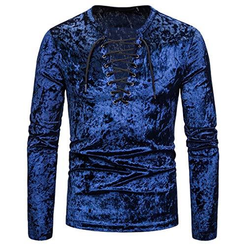 (KLGDA Men's Velvet Casual T-Shirt Slim Lightweight Long Sleeve Workout Tops Compression Running Shirts Navy)