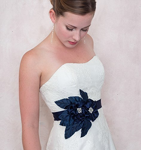 Midnight Garden Navy Silk Flower And Ribbon Sash Bridal Wedding by Deanna DiBene Millinery