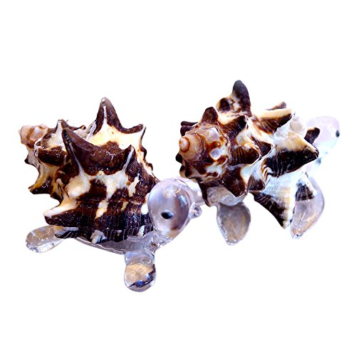 Sansukjai 2 Pcs Turtle & Sea Turtle Figurines from Blown Glass Mix White Black Shell Beach Animals Collectible Gift Home Decor#3