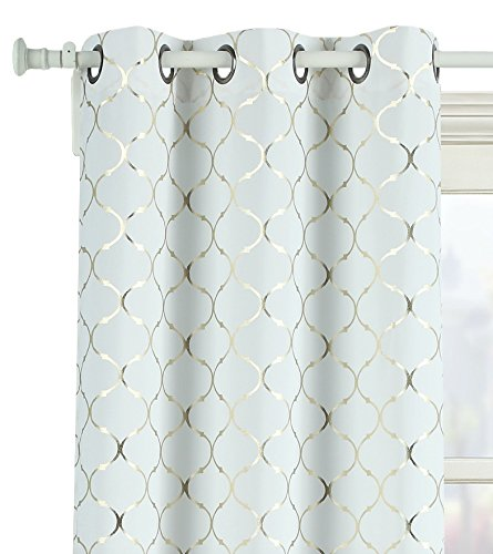 2 Pack: GoodGram Lattice Metallic Foil Ultra Luxurious Grommet Top Curtains - Assorted Colors & Sizes (84 in. Long, (White Gold Curtains)