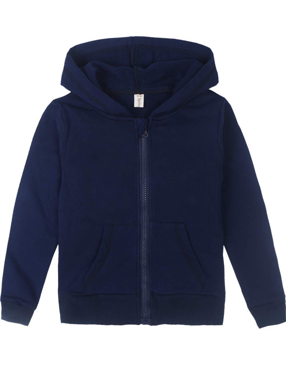 Spring&Gege Youth Solid Full Zipper Hoodies Soft Kids Hooded Sweatshirt for Boys and Girls Size 9-10 Years Navy Blue