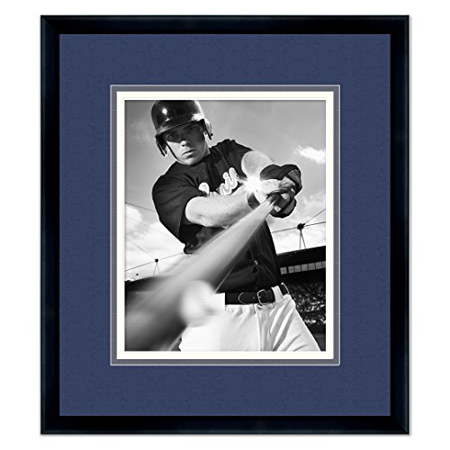 Poster Palooza Black Wood Frame with a Triple Mat for 8x10 Photos - Navy Blue, Light Blue, White