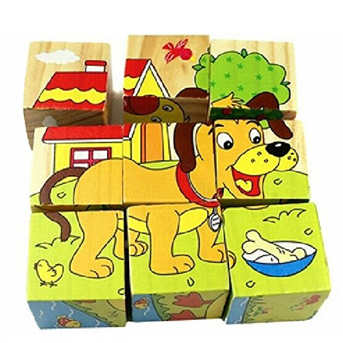 [Children Cartoon 6 Sides Puzzle Blocks Colorful Educational Kids Wooden Toy Gift] (China National Costume Name)