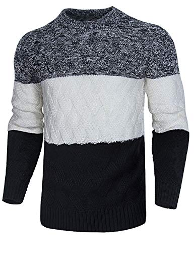 Cogild Mens Casual Crew Neck Pullover Sweater Twisted Knitted Thermal Winter Knitwear Black - Neck Crew Thermal Mens