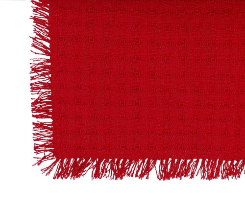 70 x 120 (Rectangle) Homespun Tablecloth, Hand Loomed, 100% Cotton, Made in USA, Solid Red by Mountain Laurel Mercantile