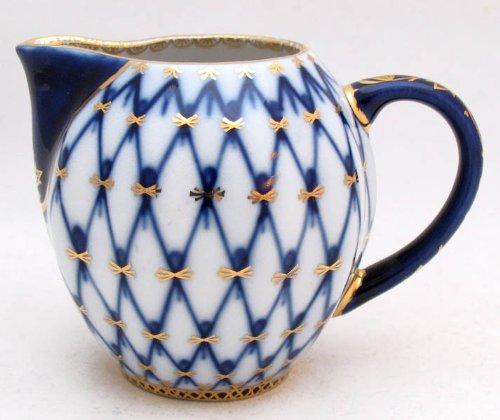 Authentic Russian Lomonosov Porcelain Cobalt Net Small Creamer 2 3/4 - Creamer Porcelain Lomonosov