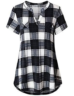 Miss Fortune Women's Soft V Neck Short Sleeve Plaid Checkered Shirts Blouse