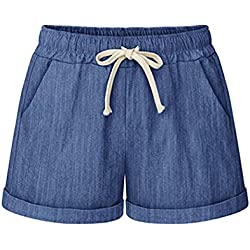 Sobrisah Women's Drawstring Elastic Waist Casual Comfy Cotton Linen Beach Shorts Chambray Tag L-US 4-6