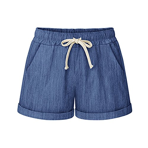 Gooket Women's Elastic Waist Cotton Linen Casual Beach Shorts With Drawstring Chambray Tag XL-US - Womens Shorts Comfortable