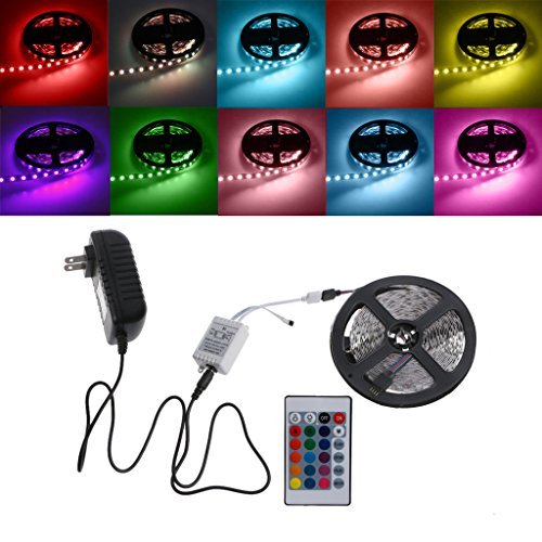 SupremeLife Multicolor Led Strip Light, Non-Waterproof, 24 Key Remote, 16.4ft 5m 300 LEDs 5050 SMD RGB DC 12V Home Party Christmas Halloween Holiday Decor Lighing Car (Mind Motion Halloween Party)