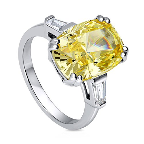 BERRICLE Rhodium Plated Sterling Silver Canary Yellow Cushion Cut Cubic Zirconia CZ Statement 3-Stone Cocktail Anniversary Fashion Right Hand Ring Size -