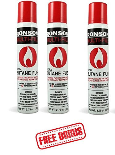 Ronson 99146 3 Large Lighter Butane Refill 78 Grams 2.75 oz - Greeting Cards Included!