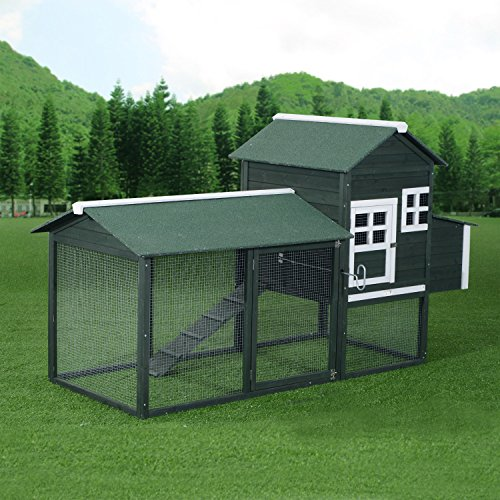 Pawhut Wooden Backyard Poultry Hen House Chicken Coop - Green by PawHut (Image #2)