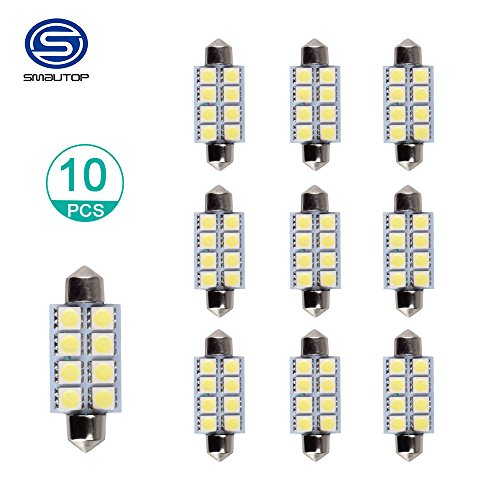 Smautop 42mm 8SMD 6500K White LED Bulb Door Lights Bulbs 211-2 578,Color White Pack of 10-1 Year Warranty