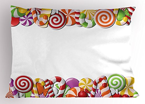 Ambesonne Candy Cane Pillow Sham, Festive and Fun Framework