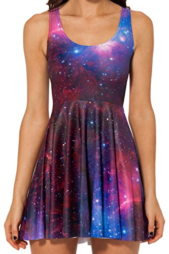 Sister Amy Women's Galaxy Printed Elastic Sleeveless Shaping Camisole Skater PurpleRed US M