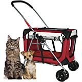 PetLuv ''Happy Pet'' Premium 3-in-1 Soft Sided Pet Carrier, Travel Crate, & Stroller with Wheels Detachable Carrier Locking Zippers Comfy Plush Nap Pillow 4X Interior Room Airy Windows Sunroof Folds