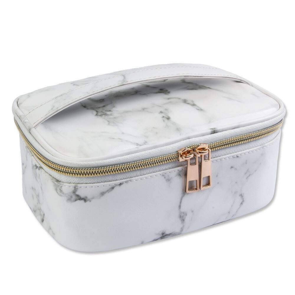 Marble Makeup Bag, Portable Travel Cosmetic Bag Organizer Multifunction Case with Gold Zipper
