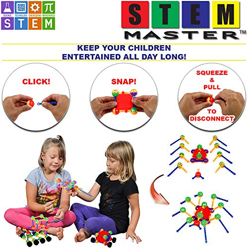 STEM Master Building Toys for Kids Ages 4-8 – STEM Toys Kit w/ 176 Durable Pieces, Full-Color Design Guide, Reusable Toy…