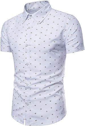 Camisas De Vestir para Hombre Manga Corta Casual Camisa Slim Fit Camiseta Estampadas Moda Casuales Camisetas Caballero Botón Abajo Blusa Modernas Shirt Elegantes Informales Tops Blanco XL: Amazon.es: Ropa y accesorios