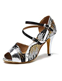 Minitoo Women's Sequin Stiletto High Heel Synthetic Latin Ballroom Tango Salsa Dance Shoes Wedding Party Prom Sandals