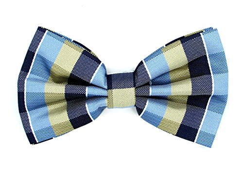 Oliver George Bow-Tie (Blue-Navy-Light Yellow) #2411-D - Exclusive Silk Bow Tie