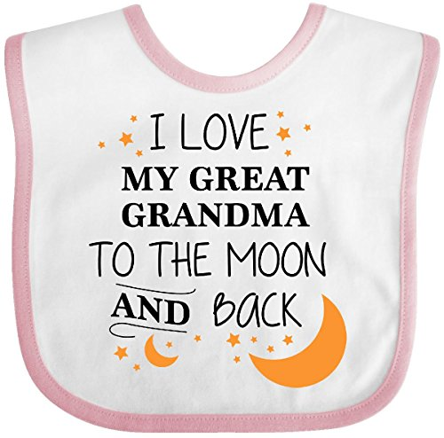 Inktastic - I Love My Great Grandma To The Moon and Baby Bib White/Pink 2965d