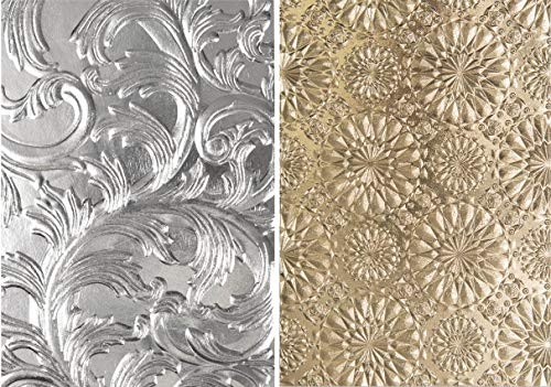 (Tim Holtz Sizzix 3D Texture Fades Embossing Folders - Elegant and Kaleidoscope - 2 Item Bundle)