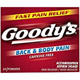 Goody's Back and Body Pain Relief Powders - Acetaminophen & Aspirin Quickly Relieve Pain Due to Headaches, Body Aches, and Fever - Caffeine Free - 24 Powders