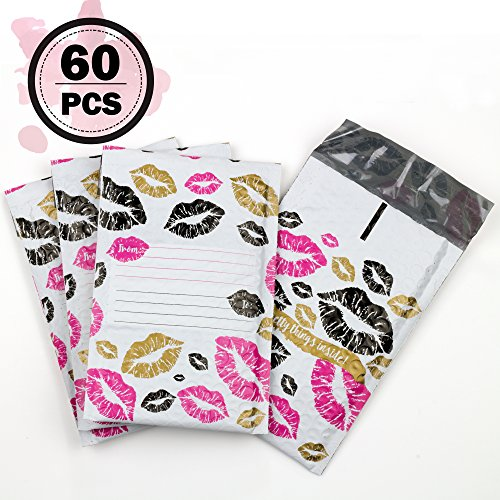 #000 4x8 Inch Pack of 60 Black Gold and Pink Kisses Pattern With Address Labels Poly Bubble Mailers Padded Shipping Envelopes Bags for Packing Goods with Self Adhesive Strip and Made Water Resistant