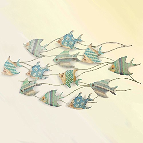 HOMEE Mediterranean Retro Wall Decorations Iron Wall Decoration Fish Wall Pendant Creative Wall Decoration Wall Ornaments (Multiple Styles Available),1 -
