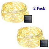Vmanoo LED String Lights 72 Feet 200 LED Solar Powered Copper Wire Starry Rope Lights Indoor Outdoor Lighting for Home Garden Party Path Lawn Wedding Christmas DIY Decoration 2-PACK (Warm White)