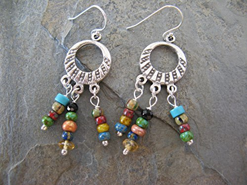 Gemstone Czech Glass Decorative Hoop Earrings on Sterling Silver Earring Wires Boho - Glass Czech Earrings