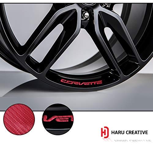 Haru Creative - Wheel Rim Emblem Logo Letter Overlay Insert Vinyl Decal Sticker Compatible with and Fits Chevy C7 Corvette Stingray Z51 2014 2015 2016 2017 2018-4D Carbon Fiber Yellow