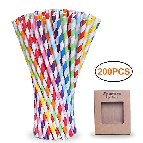 Spuntree Biodegradable Paper Straw, Stripe Paper Straws,More Environmentally Than Plastic Straws, Used For Party、Birthday、Wedding, Convenient For One-time Use,200-Pack (Stripe)