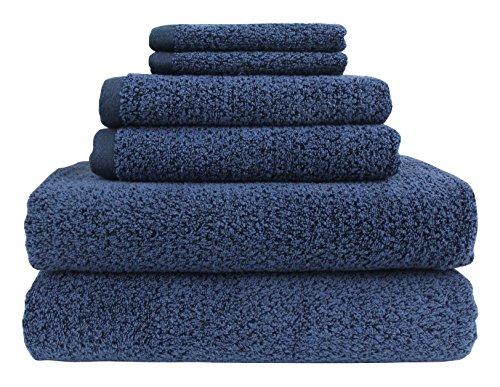 12 Piece Value Pack - Everplush Diamond Jacquard Bath Towel 6 Piece Value Pack in Navy