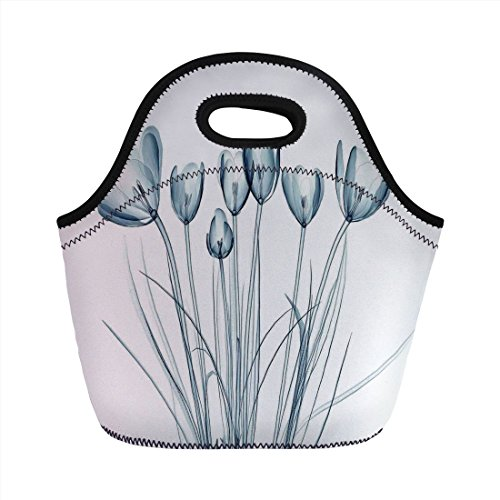 (Neoprene Lunch Bag,Xray Flower,X ray Transparent Image of Tulips Solarized Effects Nature Inspired New Vision Home,Teal White,for Kids Adult Thermal Insulated Tote Bags)
