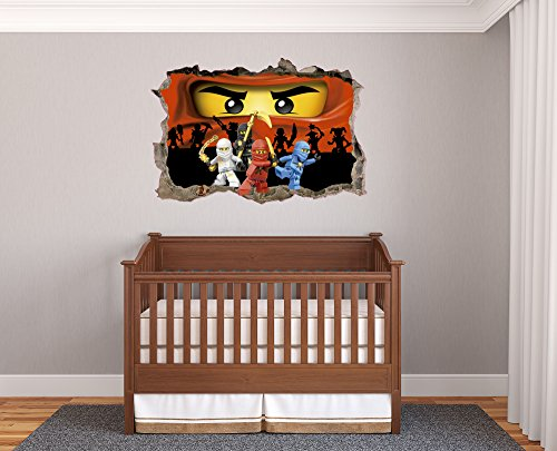 LEGO Ninjago 3D Effect - Brake Wall Effect 3D - Wall Decal For Room Boys Girls Unisex ((Wide 18''x12'' Heigh))